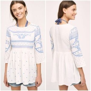 Anthropologie Mermaid Meadowbrook White Tunic Top